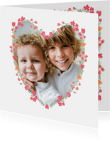 Grußkarte Foto in Herz mit Blumen