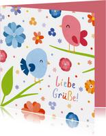 Grußkarte Frühling Blumen und Vögel