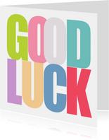 Grußkarte Good Luck bunte Buchstaben