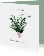 Grußkarte grüner Blumenstrauß viel Erfolg