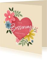 Grußkarte Gute Besserung Herz mit Blumen