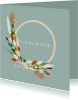 Grußkarte 'Liebe Grüße' eleganter Blumenkranz