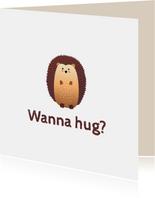 Grußkarte mit Igel 'Wanna hug'