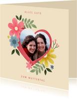 Grußkarte Muttertag Foto in botanischem Herz