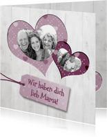 Grußkarte Muttertag Fotos in Herzen im Holzlook