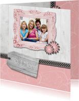 Grußkarte Muttertag Holzlook, Foto und Etikett No. 1 Mom!