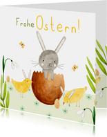 Grußkarte Osterhase in Eierschale