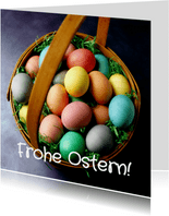Grußkarte Ostern buntes Osterkörbchen