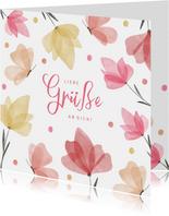 Grußkarte Schmetterlinge, Blumen & Wasserfarbe