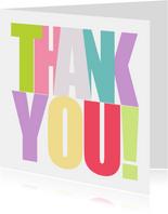 Grußkarte Thank you bunte Buchstaben