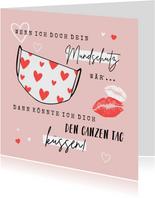 Grußkarte Valentinstag Mundschutz