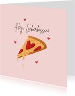 Grußkarte Valentinstag Pizza zum Anbeißen