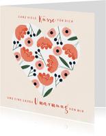 Grußkarte zum Muttertag mit Spruch und Blumen in Herz