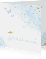 Grußkarte Zuversicht Herzen und Schmetterlinge