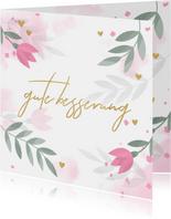 Gute Besserungskarte mit Blumenmotiv in Pastell