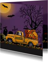 Halloween vrachtwagen geel