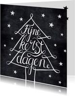 Handlettering kerstkaart zwartwit kerstboom