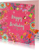 Happy Birthday Bloempjes roze