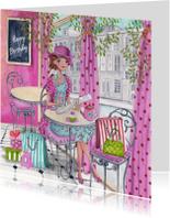 Happy Birthday cafe meisje kado