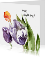 Happy Birthday with painted tulips