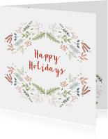 Happy Holidays kaart met krans-elementen