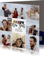 Happy New Year kerstkaart collage