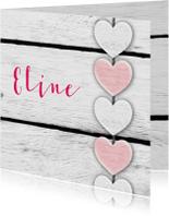 Harten roze tekst houtprint