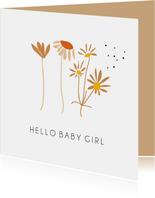 Hello baby girl schattige bloemetjes
