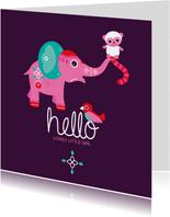 Hello olifant vogel en aapje