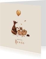 Herfst geboortekaartje met handgetekende vosjes