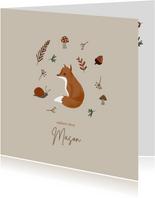 Herfst geboortekaartje vosje met takjes en paddenstoel