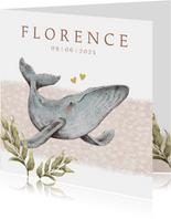Hip geboortekaartje in oceaan thema met walvisje en hartjes