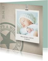 Hip geboortekaartje jongen groen