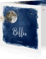 Hip geboortekaartje jongen maan, donkerblauw watercolor