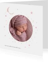 Hip geboortekaartje met foto en goudlook sterren en maan