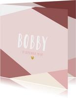 Hip geboortekaartje met gekleurde vlakken en gouden hartje