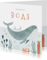 Hip geboortekaartje oceaan walvis dieren illustratie