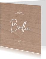 Hip geboortjekaartje neutraal houtlook minimalistisch