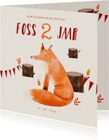 Hip kinderfeestje uitnodiging vosje in het bos en slingers