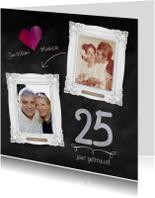 Hippe 25 jaar huwelijk kaart