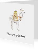 Hippe aquarel alpaca verjaardagskaart