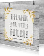 Hippe bedankkaart met hout, papier en gouden takjes