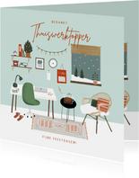 Hippe bedankkaart thuiswerktopper in kerstsfeer illustratie