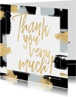 Hippe bedankkaart voor trouwdag met verfstrepen & typografie