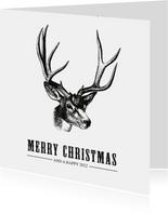 Hippe en stoere vintage kerstkaart met tekening van een hert