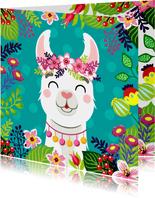 Hippe en vrolijke verjaardagskaart met alpaca en bloemen