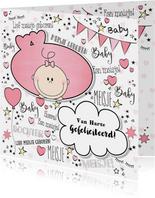 Hippe felicitatie kaart in handlettering-stijl met een baby