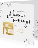 Hippe felicitatiekaart nieuwe woning gouden huis en spetters