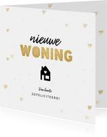 Hippe felicitatiekaart nieuwe woning hartjes en huisje