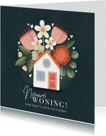 Hippe felicitatiekaart Nieuwe woning, huisje met bloemen